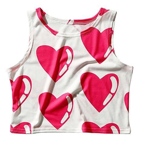 Women's Multi Digital Printed Crop Vest Tank Tops (Heart 2) , One Size (Print Crop Cami)
