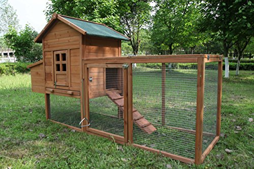 ECOLINEAR Outdoor 80'' Wooden Chicken Coop Nest Box Hen House Poultry Pet Hutch Garden Backyard Cage (Chicken Coop)