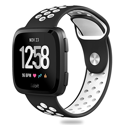 Hagibis Compatible Fitbit Versa Bands Sport Silicone Replacement Breathable Strap Bands New Fitbit Versa Smart Fitness Watch (Black&White)
