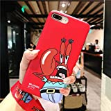 Twinlight for iPhone XR Cartoon Mr.Krabs Case Cute Spongebob Case for iPhone X XS XS Max Soft Matte Back Phone Cover + Strap (Red, for iPhone 7plus 8plus)
