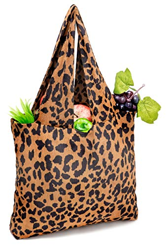 Reusable Grocery Bags Leopard Shopping Bags Heavy Duty Large Shopping Tote