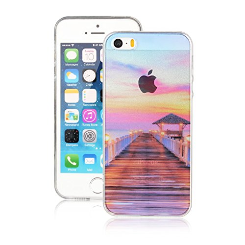 Für Apple iPhone 5 5G 5S / iPhone SE (4 Zoll) Hülle ZeWoo® TPU Schutzhülle Silikon Tasche Case Cover - AK001 / Brücke+Leuchten auf
