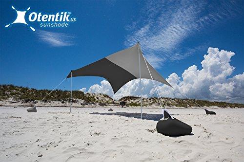 Otentik Beach Sunshade Sandbag Anchors – The Original Sunshade Since 2011 (Grey/Black, Large 8.5 x 9 ft 6.5 ft Tall – up to 7 People)
