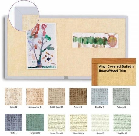 (Marsh 48x120 Blue Sky Vinyl Message Display Bulletin Board, Oak Wood Trim)