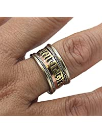 TIBETAN MEDICINE RING w/ Om Mani Padme Hum Mantra ~ Three Metals Formula for Balance & Healing ~ Includes Pouch