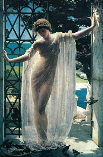 John Reinhard Weguelin Lesbia 1878 Neo Classical Oil On Canvas Painting Art Print Cool Huge Large Giant Poster Art 36×54