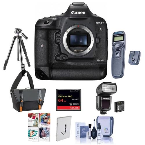 Canon EOS-1DX Mark II Digital SLR Camera - Bundle with 64GB Compact Flash Card, Camera Bag, Tripod, Flashpoint Zoom Li-on R2 TTL On-Camera Flash Remote Shutter Trigger, Software Package, and More