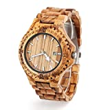 Wooden Watch for Men Natural Zebra Wood Watch for Valentine's Day Gift Analog Quartz Date Display Handmade Casual Wrist Watch 8001 for Husband Father Boyfriend-10M