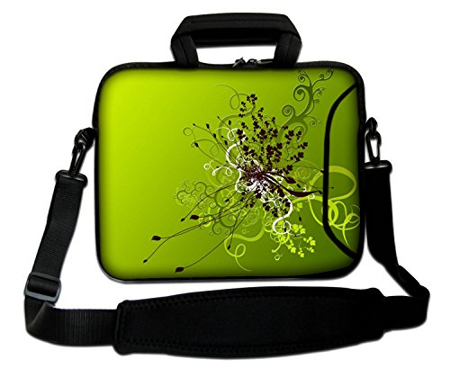 Design Laptop Notebook Sleeve Soft Case Bag With Handle and Shoulder Strap for Apple MacBook Air, MacBook, MacBook Pro, MacBook Pro Retina, MacBook Aluminum, Unibody, iBook, PowerBook Green Flowers Artwork