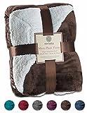 Genteele Sherpa Throw Blanket Ultra Soft Super Luxurious Warm Blanket by, 50'' X 60, Brown