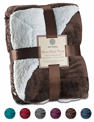Sherpa Throw Blanket Ultra Soft Super Luxurious Warm Blanket by Genteele, 50