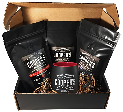 Whiskey & Rum Barrel Aged Coffee Whole Bean & 12oz Mug Box Set, Gift Box 3 Bag Sampler Set & Custom Barrel Mug, Single Origin Sumatra Whiskey, Ethiopian Rye, Rwanda Rum, Total 12oz, 100% Guaranteed