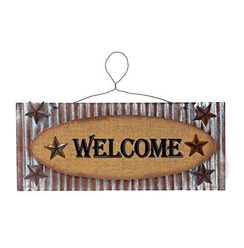 """Metal Welcome 3D Sign Rustic With Stars Burlap For Indoor Outdoor (16.7"""" by 7"""")"""