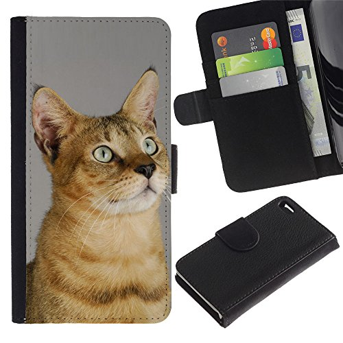 Billetera de Cuero Caso del tirón Titular de la tarjeta Carcasa Funda del zurriago para Apple Iphone 4 / 4S / Business Style Chausie Abyssinian Serengeti Sokoke