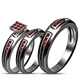 TVS-JEWELS Simulated Diamond 925 Silver Black Rhodium Plated Prong Setting Couple Engagement Trio Set (Red / Garnet)