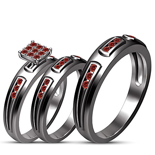 TVS-JEWELS Simulated Diamond 925 Silver Black Rhodium Plated Prong Setting Couple Engagement Trio Set (Red / Garnet) by TVS-JEWELS