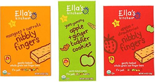 Ella's Kitchen Organic Snack Bundle: (1) Apple & Ginger Cookies 3.8oz, (1) Apples & Strawberries Nibbly Fingers 4.4oz, and (1) Mangoes & Carrots Nibbly Fingers 4.4oz (3 Pack Total)