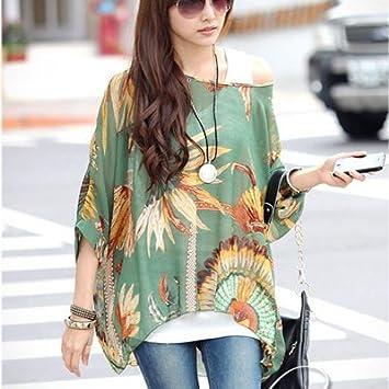 ASGHILL Boho Womens Chiffon Tops Camisa de verano nueva moda Estilo Batwing Casual Camisas 4Xl 5Xl