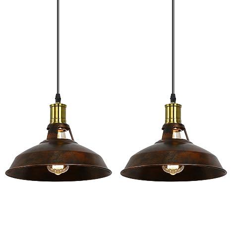 Lámpara Fuloon Retro Industrie sencilla de metal lámpara colgante E27, lámpara de techo de estilo vieja fábrica