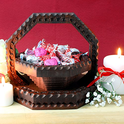 Folding/Collapsible Wooden Basket, Handcrafted in India. Great Gift For Any Occasion. (Small Wood Fruit Basket compare prices)
