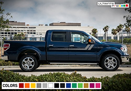 Decal Graphic Vinyl Upper Door Racing Stripe Kit Compatible with Ford F150 Series 2009-2017 (Decals Stripes Kit)