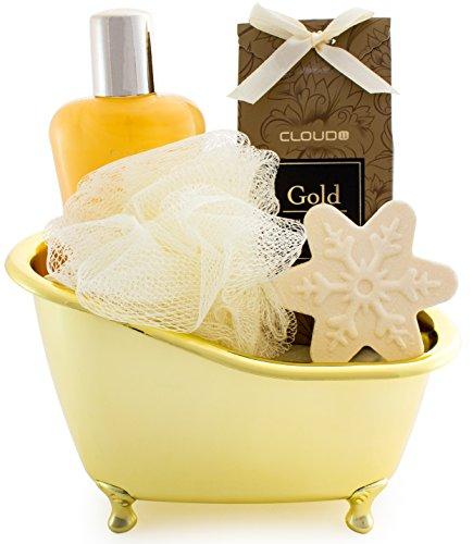 BRUBAKER 5 Pcs Gift Set 'Vanilla' Beauty Spa Set With Golden Bathtub, Bath Fizzer, Shower Gel, Bath Crystals, Sponge