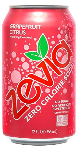 Zevia Zero Calorie Soda, Grapefruit Citrus, Naturally Sweetened Soda, (24) 12 Ounce Cans; Grapefruit Citrus-flavored Carbonated Soda; Full of Delicious Flavor and Natural Sweetness with No Sugar