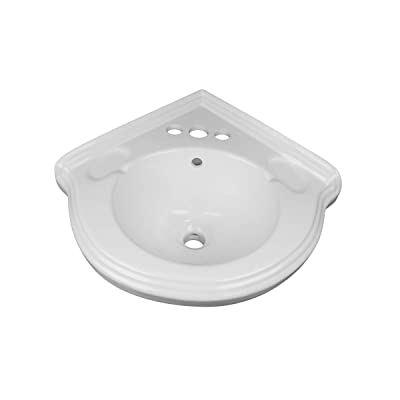 Buy Portsmouth 22 Inch Corner Pedestal Bathroom Sink Small White Overflow And Pre Drilled 4 In Centerset Faucet Holes Grade A Porcelain Easy Clean And Install Renovators Supply Manufacturing Online In Canada B0002mpob6