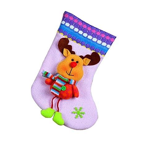 iBaste Papá Noel Colgantes Calcetines de Nochebuena Decoración Navideña Botas de Ornamento de árbol de Navidad