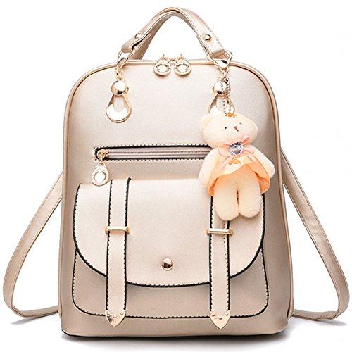 Women's Backpack PU Leather Zipper Closure Casual Shoulder Bag Travel Handbag School Bags Ladies Rucksack Gold