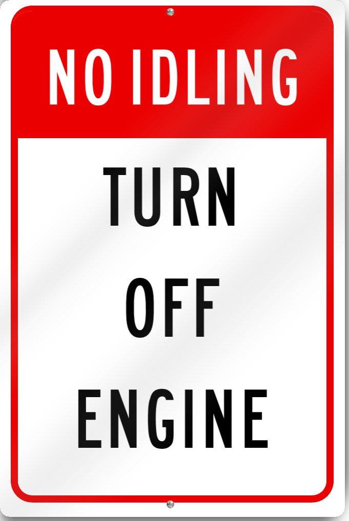 No Idling Turn Off Engine Sign 30cm wide x 46cm tall Heavy Gauge Aluminium  B01BYJCU62