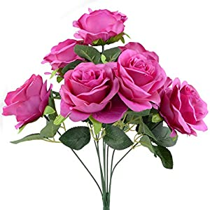 Jun Da Healthy & Harmless Rose Artificial Flowers Bouquet 9 Heads Dried Flower for Home Wedding Environmentalism Decoration 35