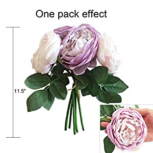 TRvancat Artificial Flowers - 2 Pack Silk Peony Flowers Bouquet 10 Heads Fake Flowers for Wedding Home Decoration(Purple) 4