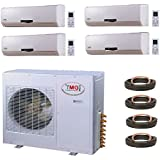 YMGI Quad Zone - Wall Mount Mini Split Air Conditioner with Heat Pump for Home, Office, Apartment with 25 Ft Lineset installation Kits (9K+9K+9K+12K)