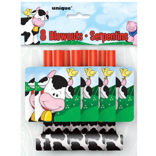 Farm Party Blowers, 8ct (Blower Favors)