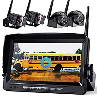 """Wireless Backup Camera with Built-in Recorder 9"""" FHD Monitor for Truck Rear View Reversing Backing Up Camera With Extra Stable Signal IP69 Monitor System for RV Trailer Bus Motorhome Camper Xroose WX4"""