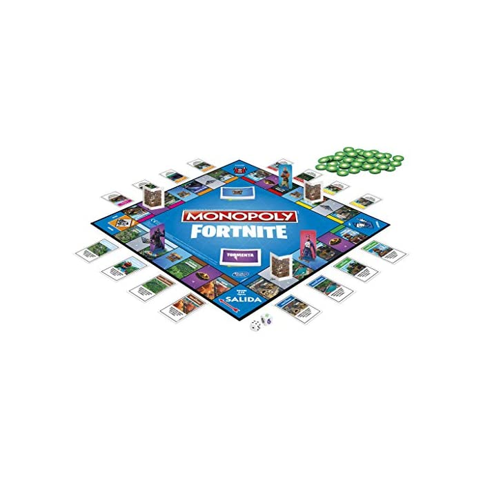 515Ub7hy6rL Monopoly - fortnite (hasbro e6603105) Para los fans de fortnite: en este juego monopoly, basado en el popular videojuego fortnite, los jugadores se apoderan de lugares, luchan en contra de sus oponentes y evitan la tormenta para sobrevivir; el último jugador en pie gana Propiedades fortnite y puntos de vida: la edición fortnite del juego monopoly presenta los lugares del videojuego como propiedades; además, los jugadores tienen el objetivo de ganar puntos de vida en vez de dinero monopoly para mantenerse en el juego