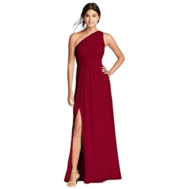 560fac46540 David s Bridal Long Chiffon Bridesmaid Dress with Asymmetric ...