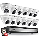 ZOSI 720p 16 Channel Video Surveillance System,16 Channel Hybrid DVR Recorder with 12 x 1280TVL(720p) Weatherproof Indoor/Outdoor Dome Camera Kit,Easy Remote Access,2TB Hard Drive