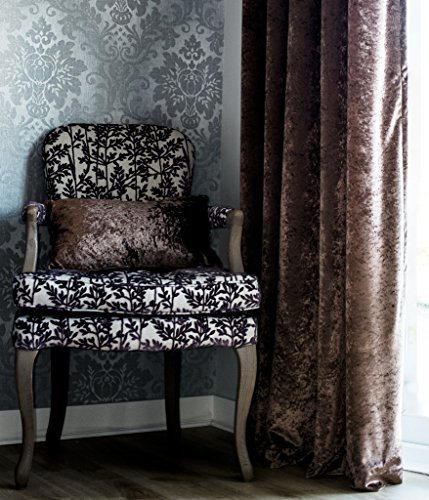 Crushed Velvet Fully Lined Ready Made Eyelet Curtains Mocha 46 Wide X 72