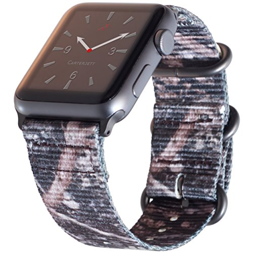 Carterjett Compatible Apple Watch Band 42mm 44mm XL Camouflage iWatch Band Replacement Strap Extra Large Woven Nylon Gray NATO Hardware Compatible Apple Watch Sport Series 4 3 2 1 (42 44 XXL Woods)