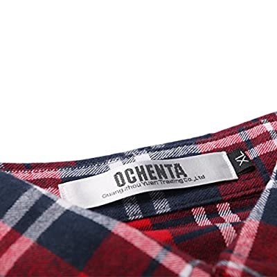 OCHENTA Women's Mid-Long Style Roll-Up Sleeve Plaid Flannel Shirt