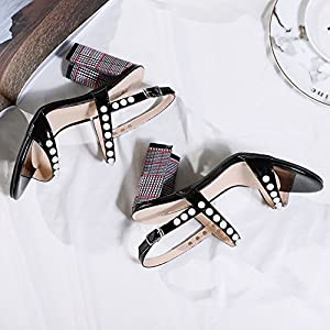 2018 Summer Women Square High Heels Fashion Party Sandal Woman Ankle Strap Pearls Casual Sandals,White,6.5