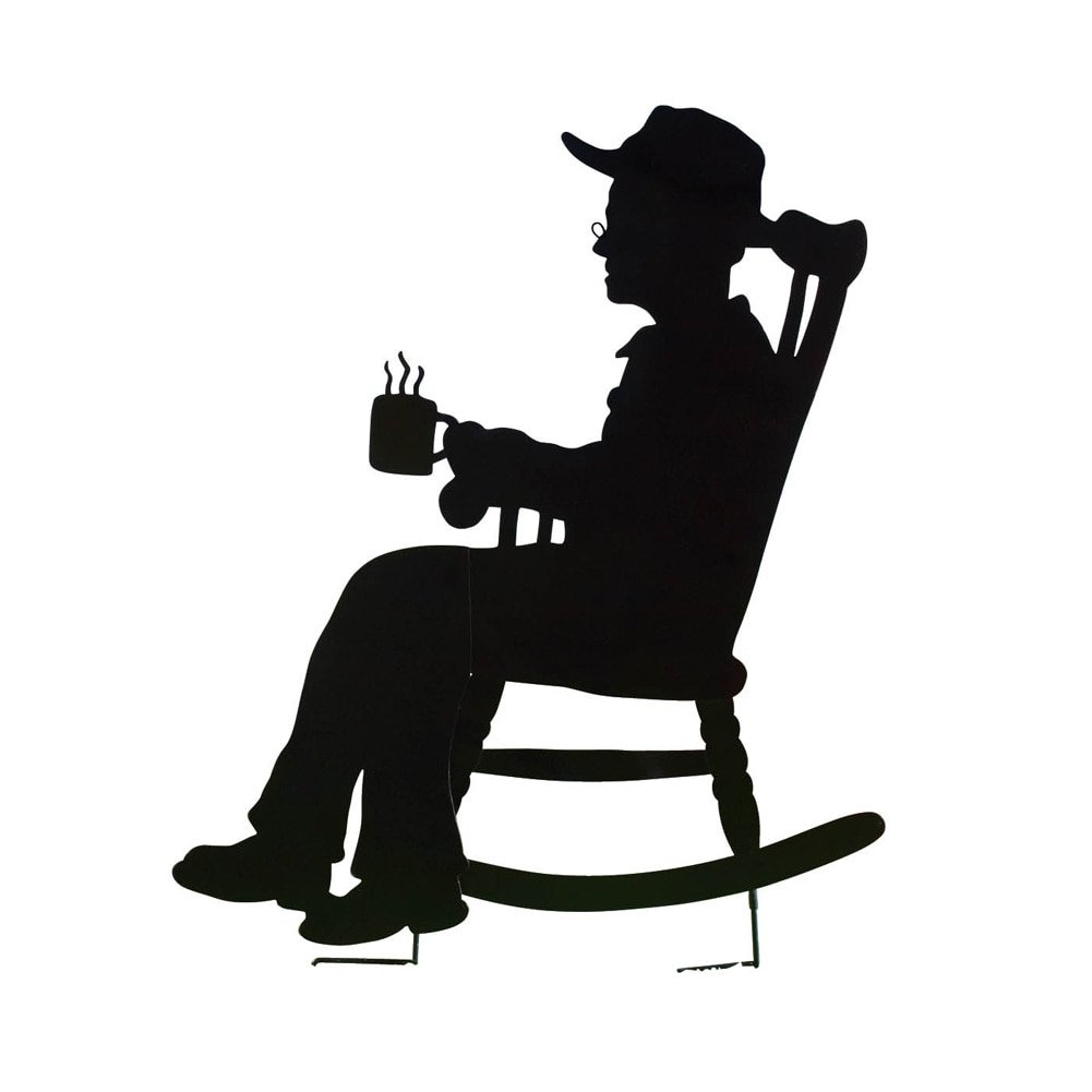 Collections Etc Charming Rocking Chair Shadow Figure Yard Stakes, Grandpa