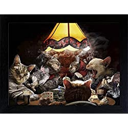 3D Lenticular Picture Poster Artwork Unique Wall Decor Holographic Pictures Optical Illusion Flipping Images (With Frame, Poker Cats)