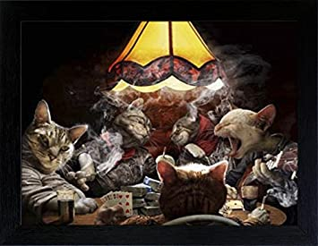 WOODEN SHOP 3D Lenticular Picture Poster Artwork Unique Wall Decor Holographic Pictures Optical Illusion Flipping Images with Frame, Poker Cats