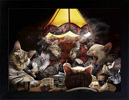 WOODEN SHOP 3D Lenticular Picture Poster Artwork Unique Wall Decor Holographic Pictures Optical Illusion Flipping Images (with Frame, Poker Cats)