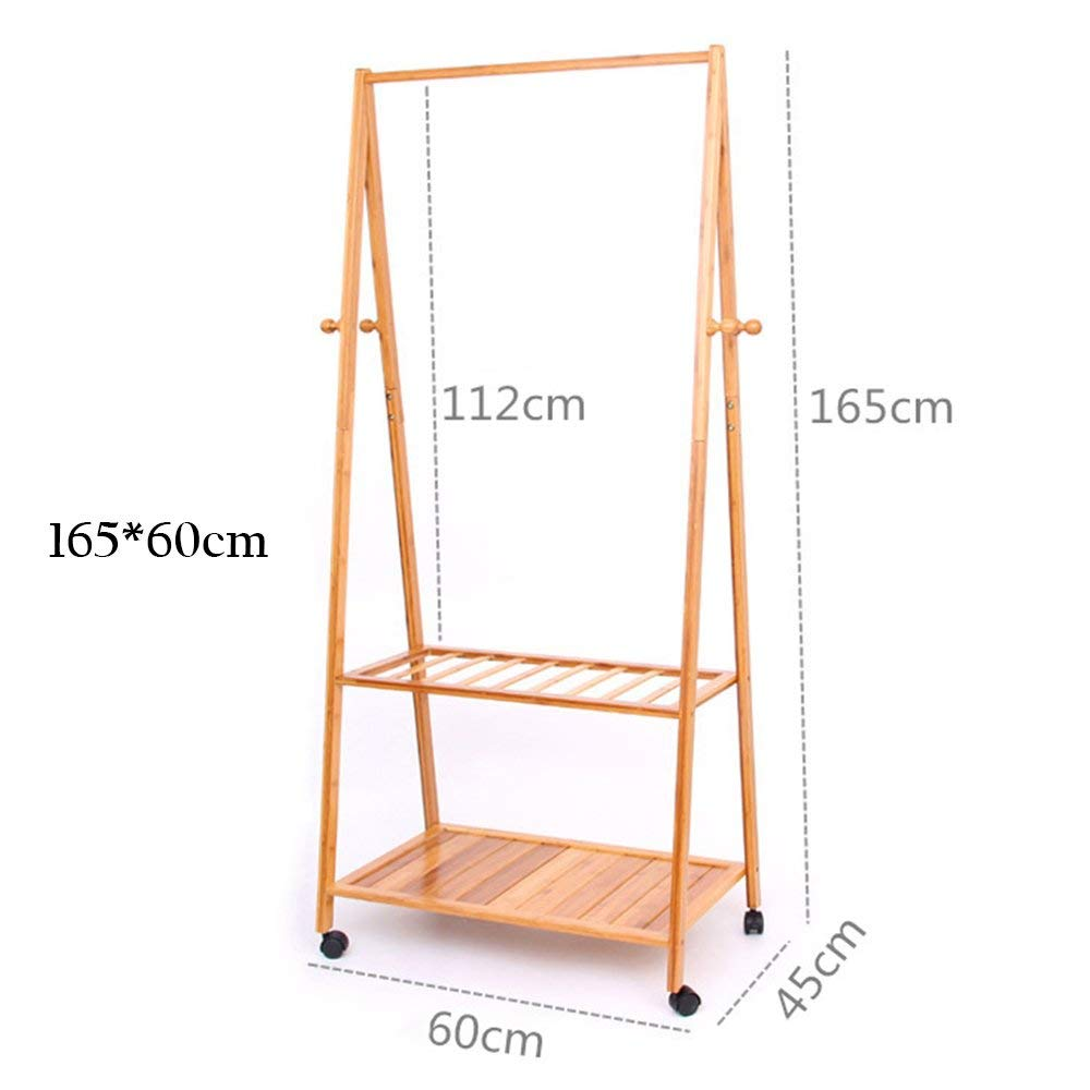 16560cm DYR Solid Wood Floor Multi-Purpose Coat Hanger can Move Stable and Durable Shelves (Dimensions  165  70 cm)