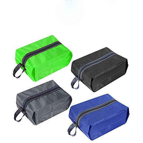 aterproof Nylon Travel Shoe Bag with Zipper Closure for Men and Women,Multicolor,Pack of 4 ()