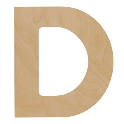 Wooden Letters D Unfinished 12 X 10 34 Inch Decorative Craft Monogram For Wedding Parties And Home Décor With Tool Free Adhesive Foam Squares